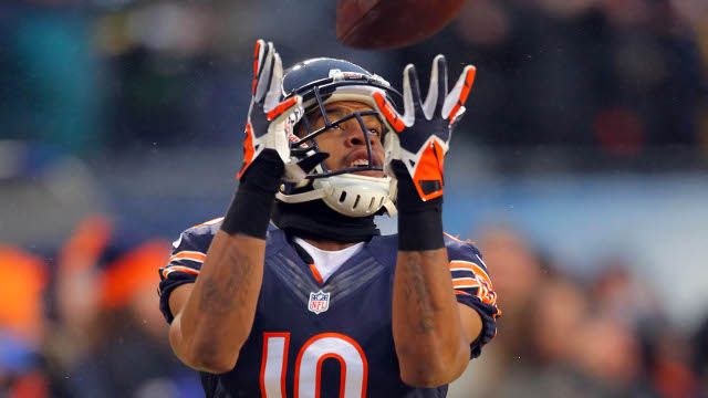 Dec 29, 2013; Chicago, IL, USA; Chicago Bears wide receiver Marquess Wilson (10) warms up prior to a game against the Green Bay Packers at Soldier Field. Mandatory Credit: Dennis Wierzbicki-USA TODAY Sports