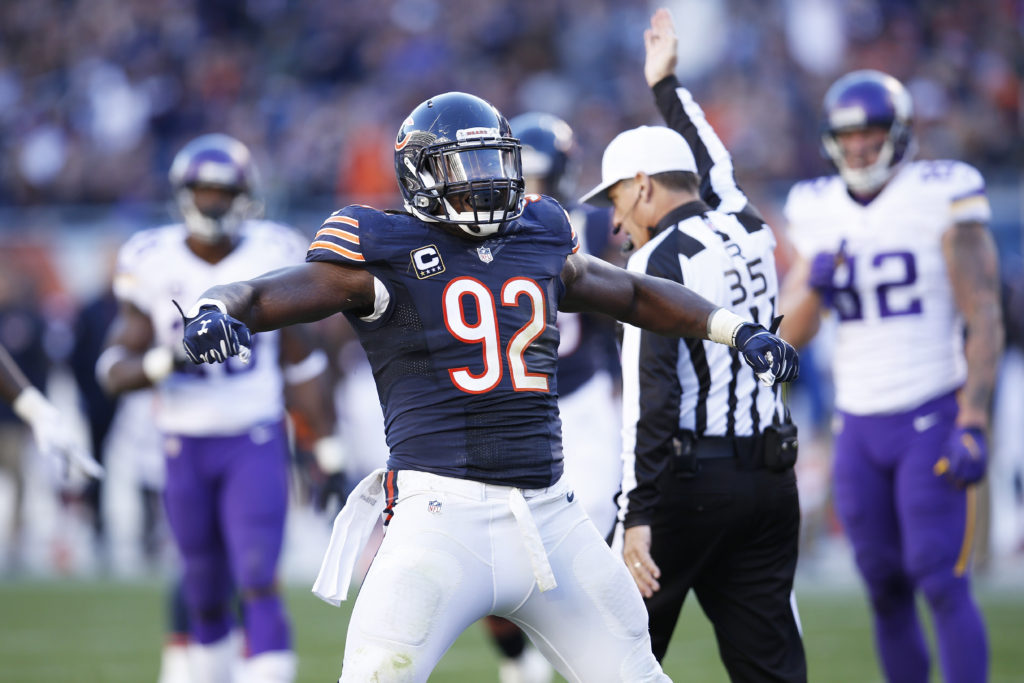 CHICAGO, IL - NOVEMBER 1: Pernell McPhee #92 of the Chicago Bears celebrates after a sack during a game against the Minnesota Vikings at Soldier Field on November 1, 2015 in Chicago, Illinois. The Vikings defeated the Bears 23-20. (Photo by Joe Robbins/Getty Images)
